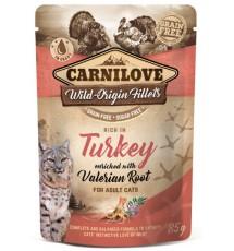 Carnilove Cat Turkey & Valerian Root - indyk i waleriana saszetka 85g