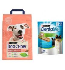 Purina Dog Chow Adult Sensitive Łosoś 2,5kg + przysmak Dentalife gratis
