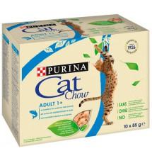 Purina Cat Chow Łosoś i zielona fasolka saszetki 10x85g